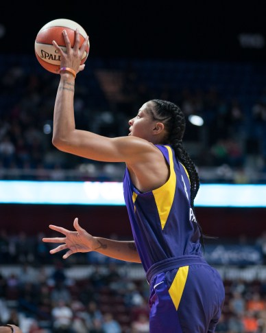 Los Angeles Sparks forward Candace Parker (3) shoots during the WNBA Semi-Finals between the Los Angeles Sparks and the Connecticut Sun at Mohegan Sun Arena, Uncasville, Connecticut, USA on September 19, 2019. Photo Credit: Chris Poss