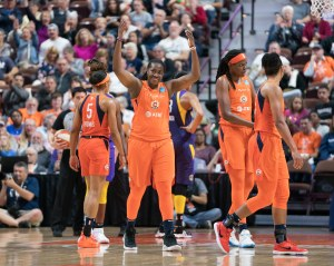 Connecticut Sun guard Shekinna Stricklen (40) gets the crowd going during the WNBA Semi-Finals between the Los Angeles Sparks and the Connecticut Sun at Mohegan Sun Arena, Uncasville, Connecticut, USA on September 19, 2019. Photo Credit: Chris Poss