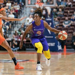 Los Angeles Sparks guard Chelsea Gray (12) during the WNBA Semi-Finals between the Los Angeles Sparks and the Connecticut Sun at Mohegan Sun Arena, Uncasville, Connecticut, USA on September 19, 2019. Photo Credit: Chris Poss
