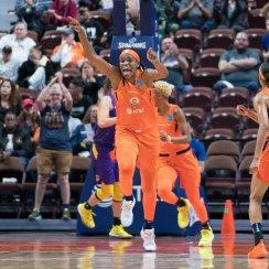 Connecticut Sun center Jonquel Jones (35) during the WNBA Semi-Finals between the Los Angeles Sparks and the Connecticut Sun at Mohegan Sun Arena, Uncasville, Connecticut, USA on September 19, 2019. Photo Credit: Chris Poss