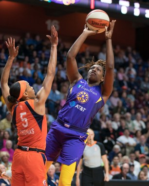 Los Angeles Sparks guard Chelsea Gray (12) shoots during the WNBA Semi-Finals between the Los Angeles Sparks and the Connecticut Sun at Mohegan Sun Arena, Uncasville, Connecticut, USA on September 19, 2019. Photo Credit: Chris Poss