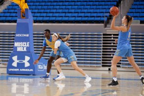 October 29, 2019 - Chantel Horvat makes a pass at the UCLA Bruins women's basketball team preseason practice at Pauley Pavilion in Los Angeles, California. Maria Noble/WomensHoopsWorld