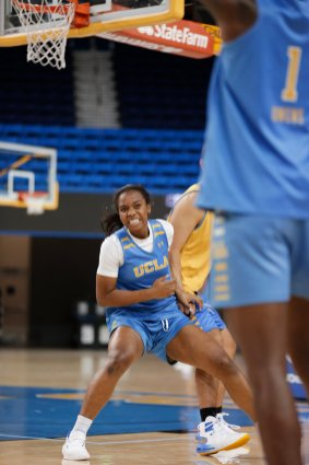 October 29, 2019 - Charisma Osborne at the UCLA Bruins women's basketball team preseason practice at Pauley Pavilion in Los Angeles, California. Maria Noble/WomensHoopsWorld