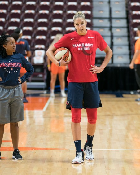 Washington Mystics forward Elena Delle Donne (11) before Game 3 of the WNBA finals between the Washington Mystics and the Connecticut Sun at Mohegan Sun Arena, Uncasville, CT, USA on October 06, 2019. Photo Credit: Chris Poss