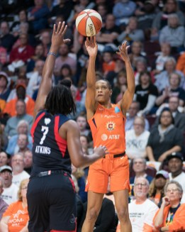 Connecticut Sun guard Jasmine Thomas (5) shoots during Game 3 of the WNBA finals between the Washington Mystics and the Connecticut Sun at Mohegan Sun Arena, Uncasville, CT, USA on October 06, 2019. Photo Credit: Chris Poss