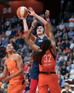 Washington Mystics forward Elena Delle Donne (11) shoots during Game 3 of the WNBA finals between the Washington Mystics and the Connecticut Sun at Mohegan Sun Arena, Uncasville, CT, USA on October 06, 2019. Photo Credit: Chris Poss