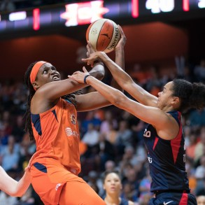 Connecticut Sun center Jonquel Jones (35) is fouled as she shoots during Game 4 of the WNBA finals between the Washington Mystics and the Connecticut Sun at Mohegan Sun Arena, Uncasville, CT, USA on October 08, 2019. Photo Credit: Chris Poss