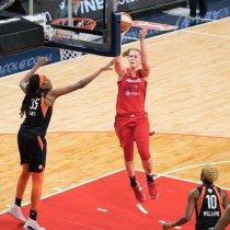 Washington Mystics forward Emma Meesseman (33) shoots during Game 5 of the WNBA finals between the Connecticut Sun and the Washington Mystics at Entertainment and Sports Arena, Washington, DC, USA on October 10, 2019. Photo Credit: Chris Poss