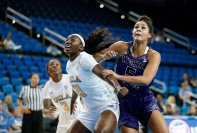Michaela Onyenwere boxes out her defender. Maria Noble/WomensHoopsWorld