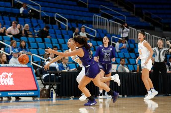 Bruin and Wildcat players battle for the loose ball. Maria Noble/WomensHoopsWorld