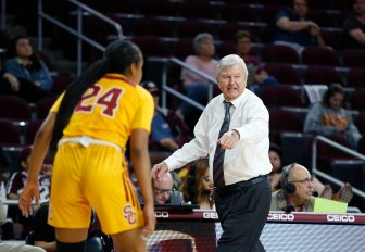 Texas A&M coach Gary Blair calls out instructions to his team. Maria Noble/WomensHoopsWorld