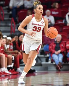 Chelsea Dungee averaged 20.5 points per game last season for the Razorbacks. Photo courtesy of Arkansas Athletics.
