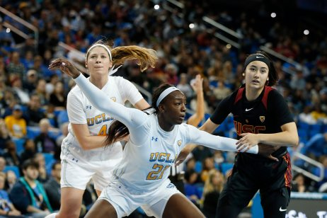 Michaela Onyenwere boxes out for the rebound. Maria Noble/WomensHoopsWorld