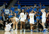 Players react after UCLA prevails at the final buzzer, 68-66. Maria Noble/WomensHoopsWorld.