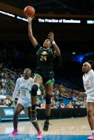 Ruthy Hebard lays it up and in. Maria Noble/WomensHoopsWorld.