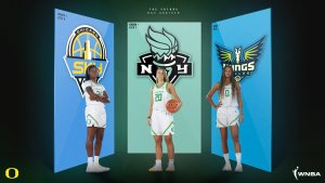 Ruthy Hebard was selected eighth by the Chicago Sky; Sabrina Ionescu was the No. 1 pick of the New York Liberty; and Satou Sabally went second to the Dallas Wings. Photo courtesy of Oregon Athletics.