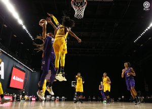 Brittney Sykes elevates to block Brittney Griner's shot. NBAE/Getty Images photo.