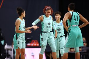 New York Liberty players remain upbeat despite losing to the Las Vegas Aces. Photo by Ned Dishman/NBAE via Getty Images.