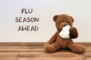 """teddy bear with a tissue because of flu with the words """"flu season ahead"""" in the background"""