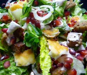 Halloumi salad with fennel, croutons and pomegranate.