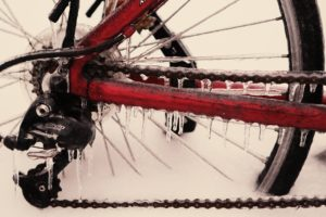 Frozen bike chain a.k.a why you need to wipe down after a winter ride.