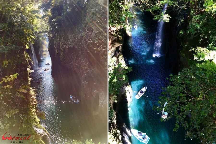 🇯🇵九州> 高千穗峽,秋天紅楓、春天櫻花,四季都有美景賞,滑小船吧!瀑布下是另種視野,更是無比沁涼