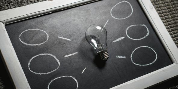 Ideas bursting from lightbulb