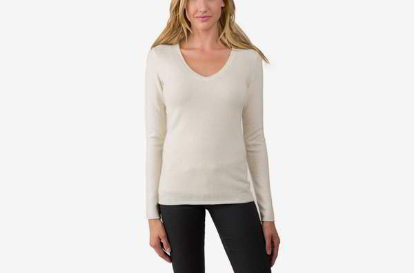 JENNIE LIU Women's 100% Pure Cashmere Long Sleeve Pullover V Throat Sweater