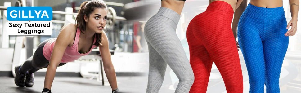 GILLYA Booty Yoga Pants Butt Lift Textured Scrunch Leggings