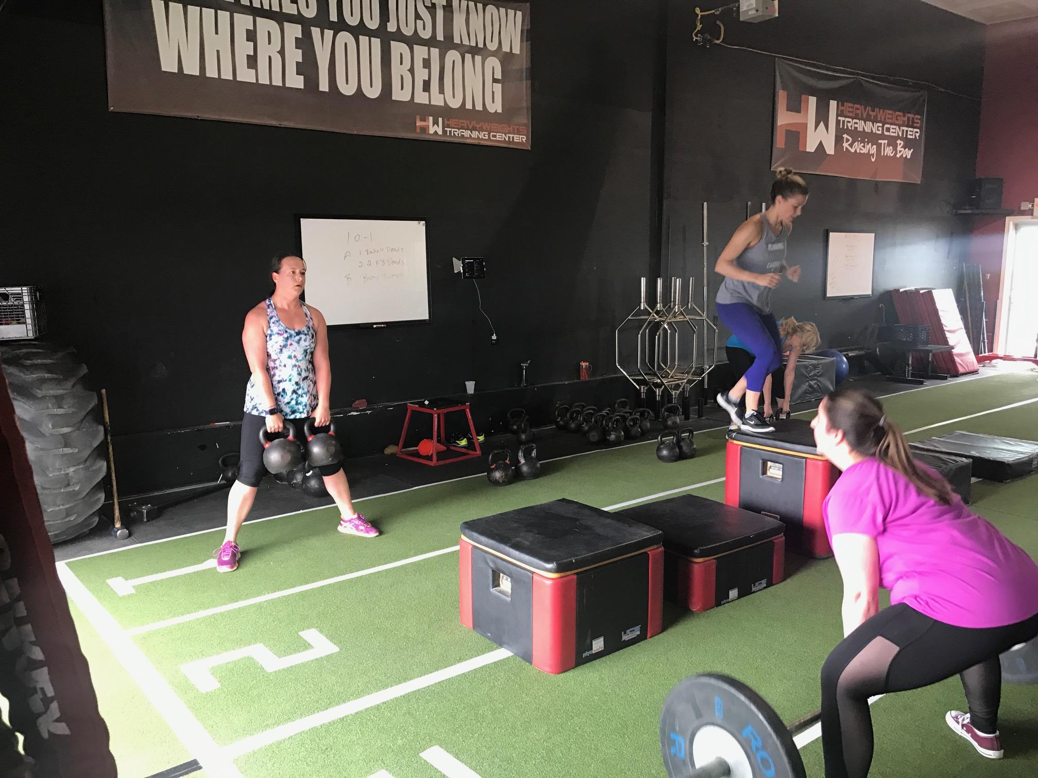 Try This Barbell Kettlebell Deadlift Box Jump Finisher