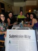 April 2015 Submission Party at Here and Now - Member Melissa Chadburn's article in Poets and Writers Magazine about WWS in the foreground!