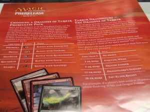 An advisory sheet explaining the Dragons of Tarkir prerelease packs and the rules of Tarkir Dragonfury.