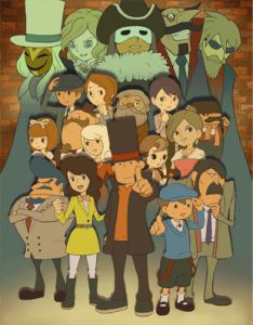 Professor Layton Royale, Nintendo, 2011. A picture of the cast.