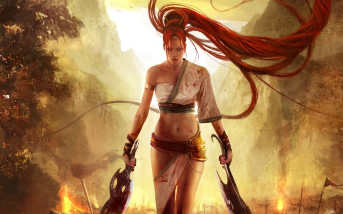 Heavenly Sword, Ninja Theory, Sony, 2007. A redheaded woman with long hair has two swords and walks away from a battleground.