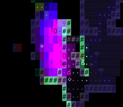 Chaotic screenshot from the game Brogue