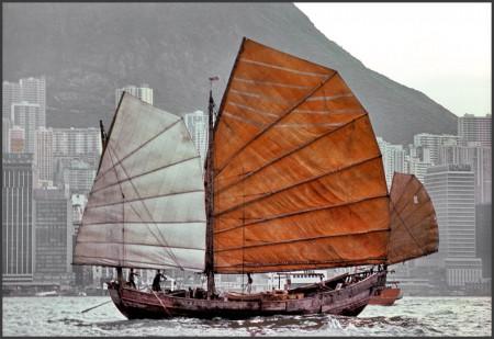 Junk sailing in Hong Kong harbor