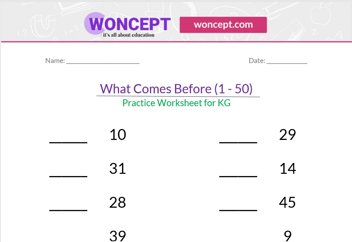 What Comes Before 1 50 Kindergarten Practice Worksheet