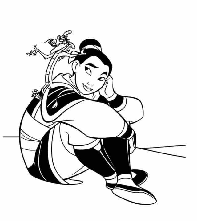 Ausmalbilder Mulan. Drucken Sie Disney Prinzessin kostenlos