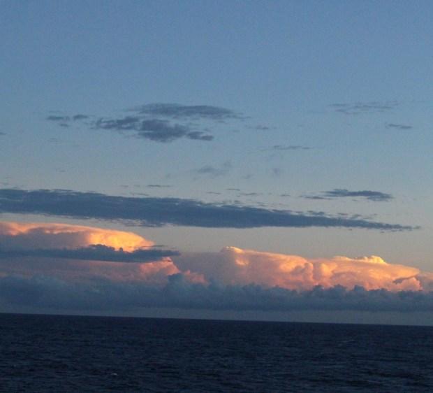 Sunset from Ogasawara Maru to Tokyo