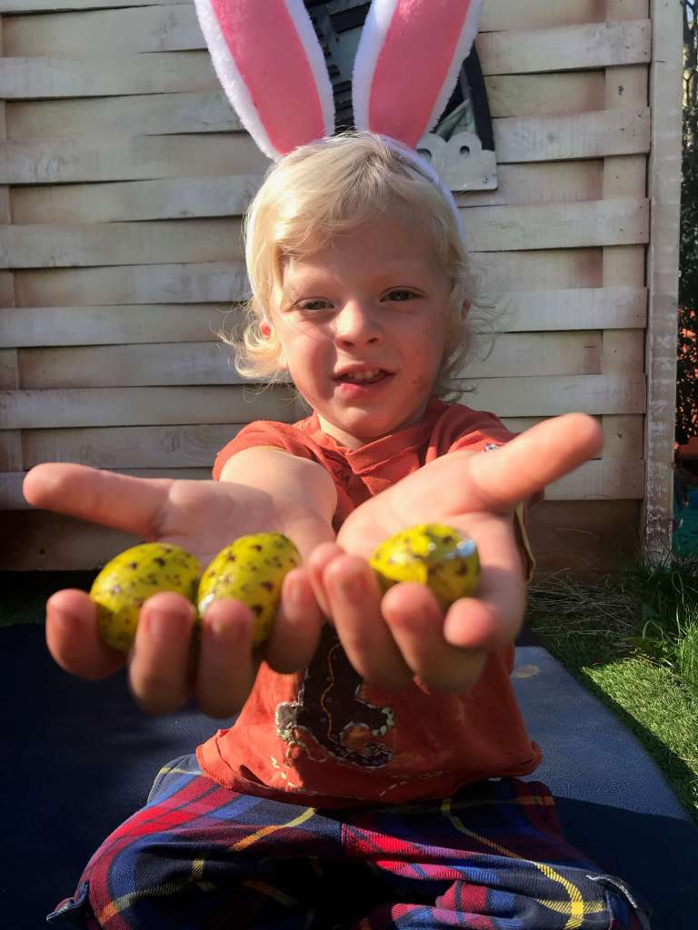 kid with eggs