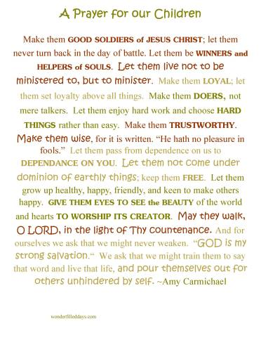 Amy Carmichael Prayer for Children (printable)