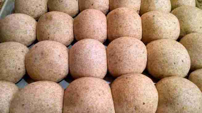 whole wheat buns risen ready for oven