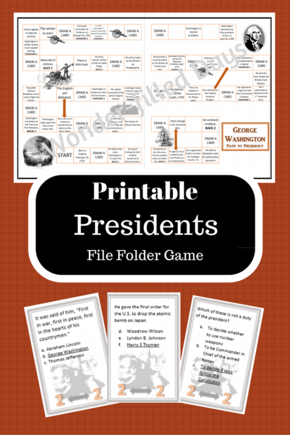 Printable Presidents Game; Printable Presidents Activity
