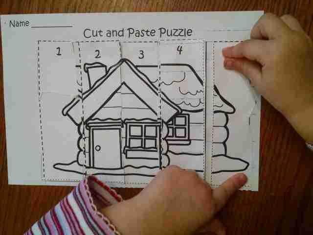 Preschool Cut and Paste Puzzle