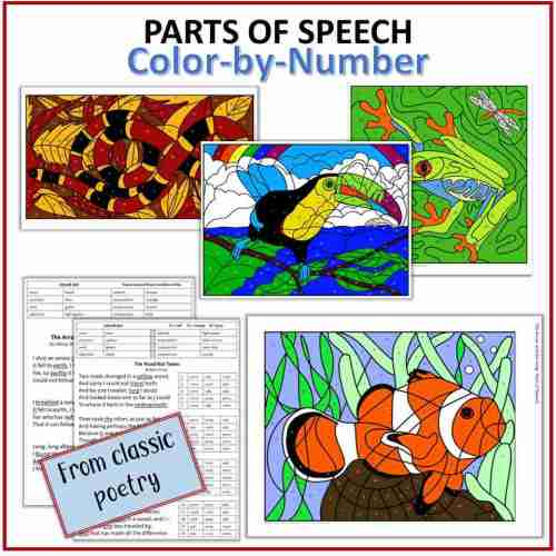 Poetry Parts of Speech Color by Number