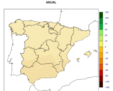 porcentajes de precipitación anual previsto en españa para los años 2046 a 2065