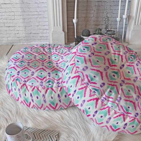 ikat thought 2 round floor pillow 23