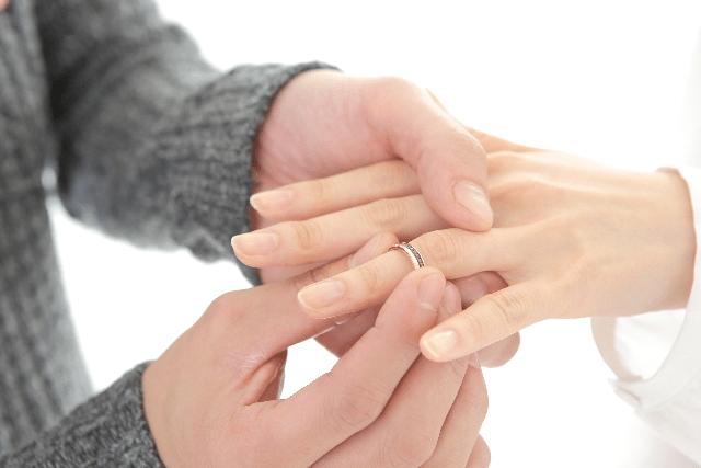 指にはめた婚約指輪
