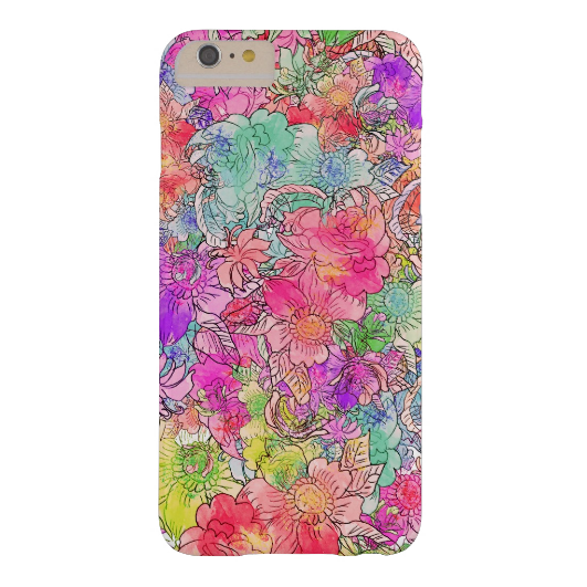 3. Bright Pink Red Watercolor Floral Drawing Sketch Barely There iPhone 6 Plus Case