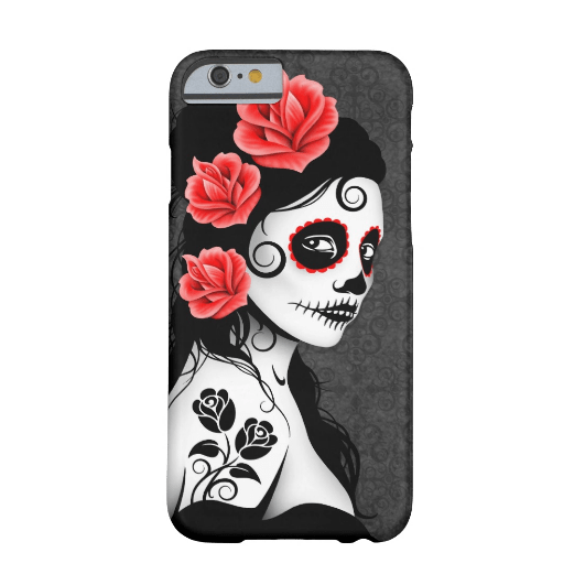 9. Day of the Dead Sugar Skull Girl - grey iPhone 6 Case